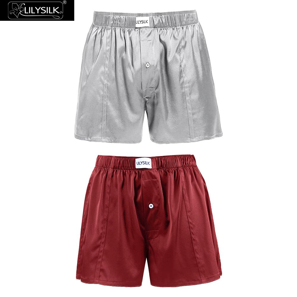 LILYSILK Boxer For Men 2 Pack Luxury Fitted Draping Silk Free Shipping
