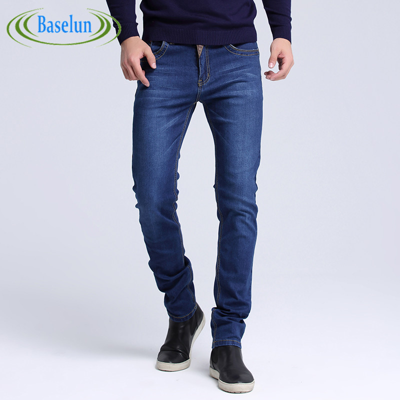 2016 New Fashion Men Casual Jeans Slim Straight High Elasticity Feet Jeans Loose Waist Long Trousers Size: 29-40 недорого