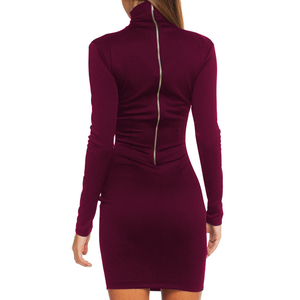 Женское облегающее платье с длинным рукавом, однотонное повседневное приталенное платье высокого качества, Осень-зима 2018