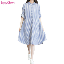 Maternity Pregnancy Dresses Loose Pregnant Women Shirt Long Dress Autumn Cotton and Linen Clothing XXXL