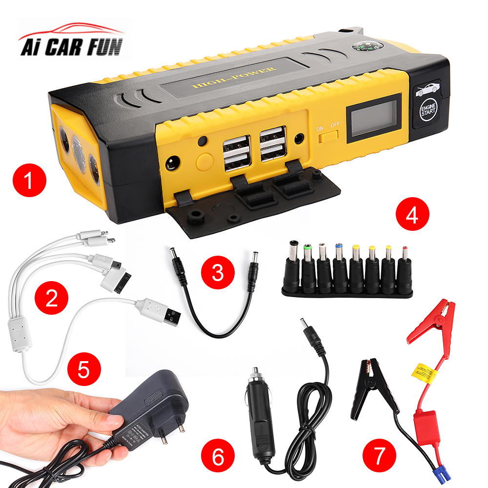Car Accessories Auto Portable Starter Battery Jump Starter 12V Mini Emergency Power Bank With LED Light And USB Charger 2pcs power bank cover case tomo m4 and evewher 2 easy to carry smart led powerdisplay and led light fasr delivery no battery