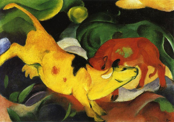 High quality Oil painting Canvas Reproductions Cows Yellow Red Green 1912  By Franz Marc  hand painted