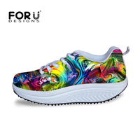 FORUDESIGNS Women Slimming Health Shoes Mixed Color Swing Dance Shoes For Women Casual Ladies Wedge Rocking