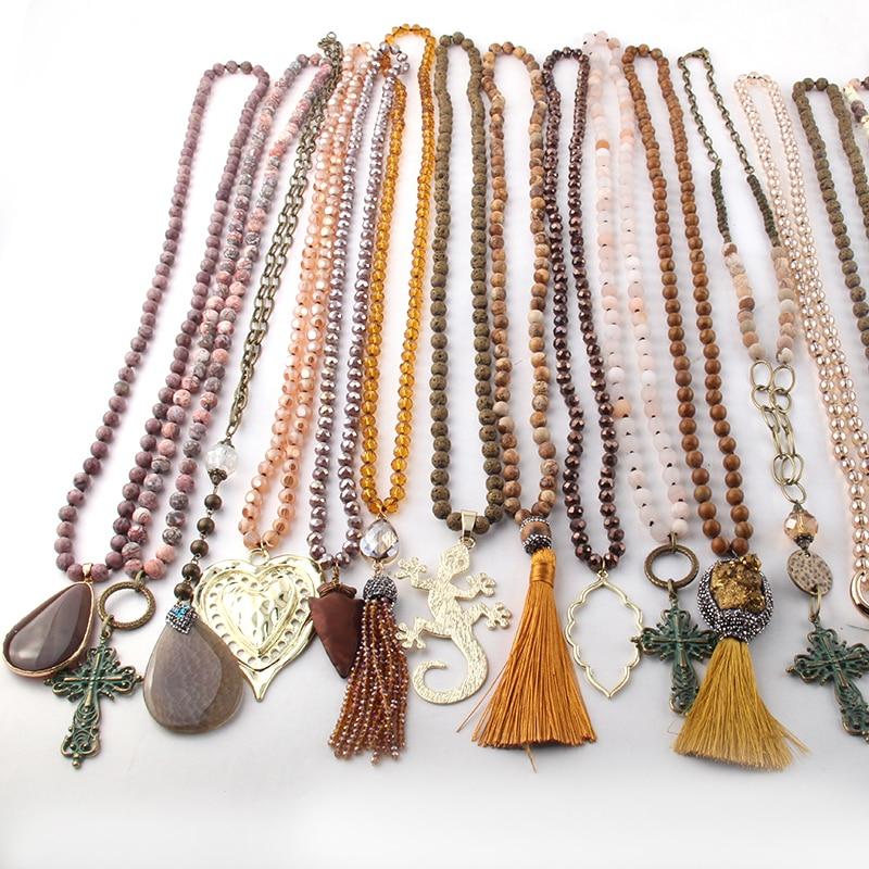 الجملة أزياء مزيج اللون البني قلادة اليدوية النساء مجوهرات 20 قطعة مزيج-في قلادات معلقة من الإكسسوارات والجواهر على  مجموعة 1