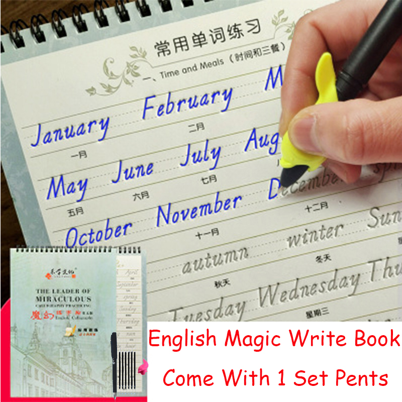 Reusable English Write Book & 1 Set Pens Handwriting Groove Copy English Alphabet Words Letters Auto Fades Toys For Adult Kids
