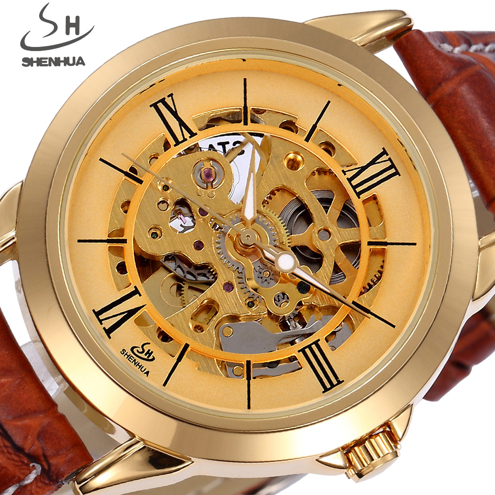 SHENHUA Skeleton Automatic Mechanical Watch Men Retro Vintage Gold Leather Watches Classic Luxury Brand Watch Relogio Masculino creative watch men luxury classic new men classic transparent steampunk skeleton mechanical leather watch relogio masculino 2522