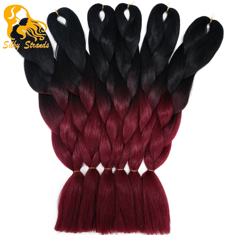 Ombre Burgundy Kanekalon Jumbo Braiding Hair Colors 24