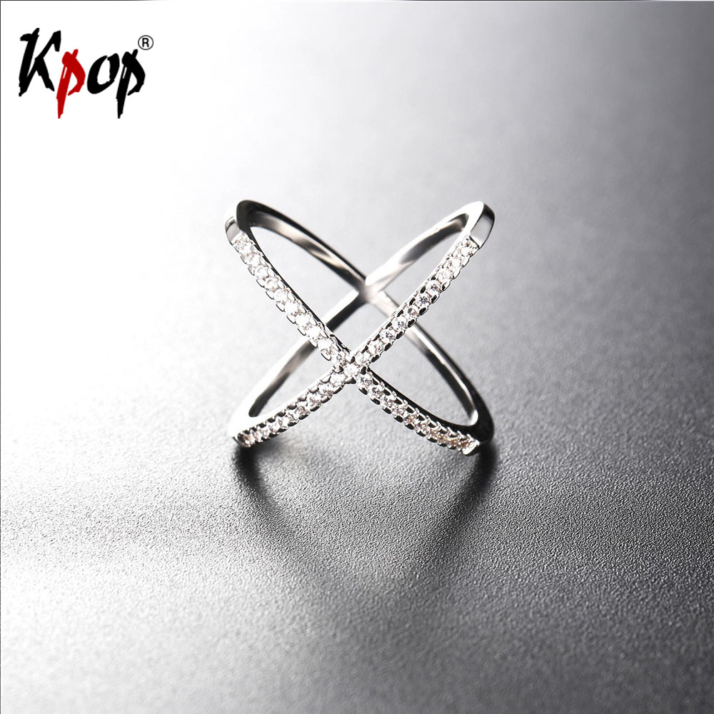 Kpop Cubic Zirconia Cross/Intersect Two Rings For Men/Women Wholesale Yellow Gold/Silver Color Jewelry With Gift Box Ring R2562