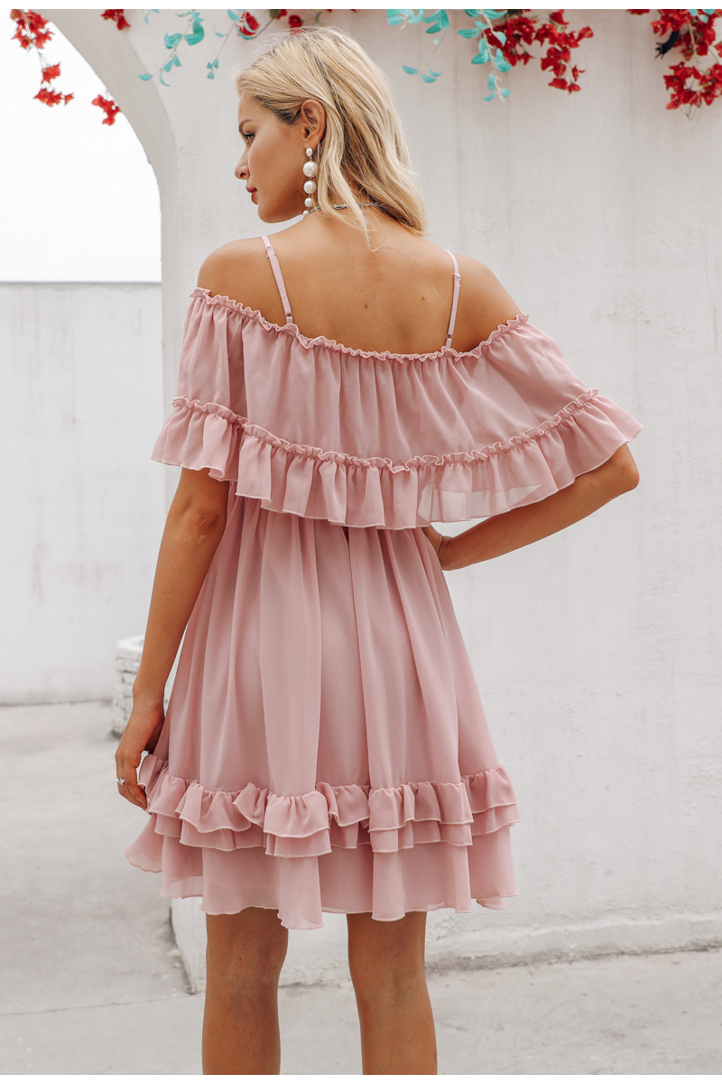 Simplee Elegant ruffle off shoulder women dress Spaghetti strap chiffon summer dresses Casual holiday female pink short sundress 12