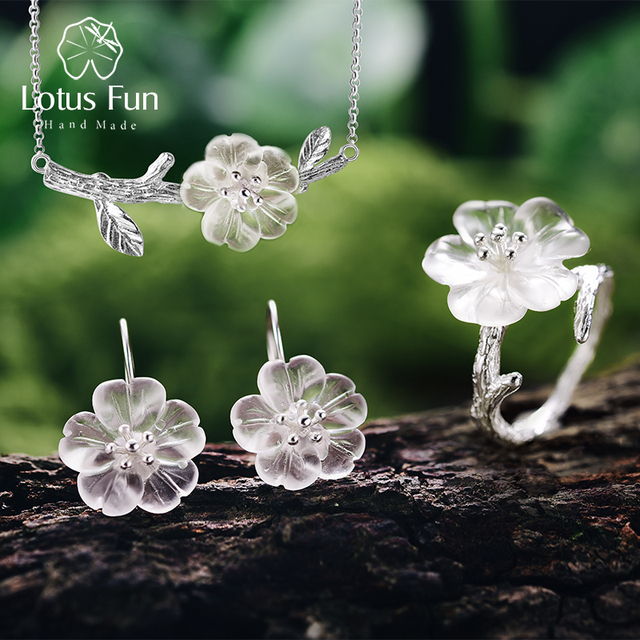 Lotus Fun réel 925 argent Sterling fait à la main bijoux fins fleur sous la pluie bijoux ensemble avec anneau goutte boucle d'oreille pendentif collier