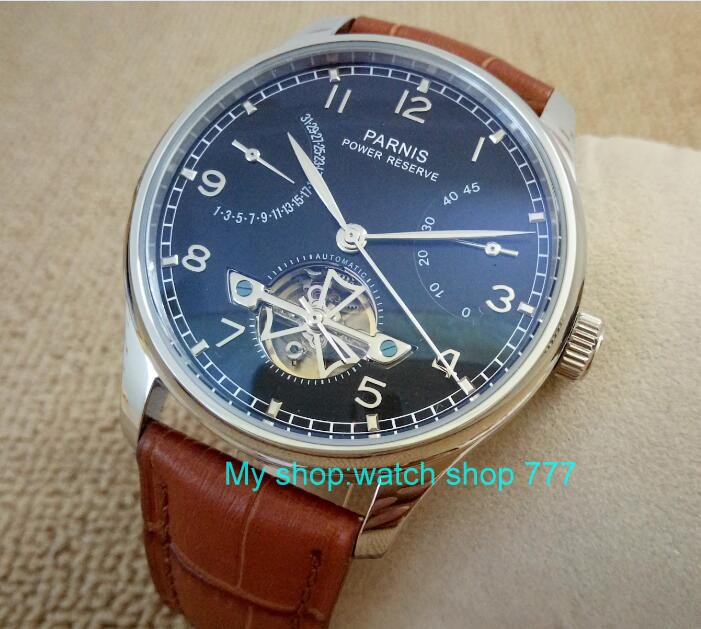 43mm Parnis Black dial Automatic Self-Wind Mechanical movement power reserve Mechanical watches Men's watch fxy18 casual 43mm parnis mechanical watches seagull 2542 power reserve automatic movement black dial watch men