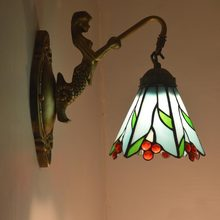 Tiffany lamps fashion fresh rustic wall lamp mirror light bedroom bedside lamp dream rustic red fruit
