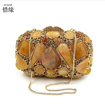 XIYUAN BRAND new high quality Agate gem Hollow Out Shoulder hobos messenger Bag Elegant Women Ladies Handbag bolsas femininas