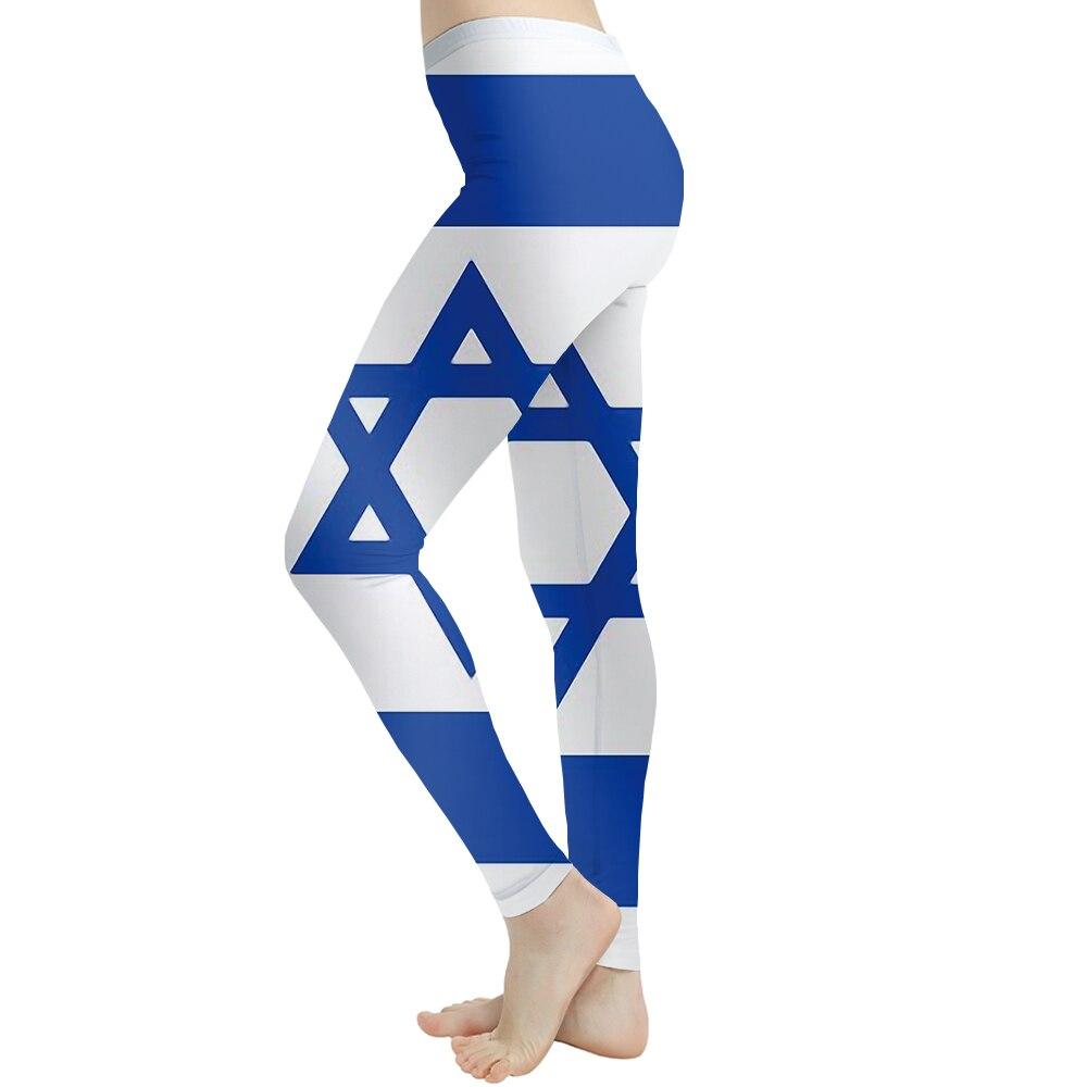 KYKU Brand Geometric Leggings Women Blue Elastic Israel Flag Printed Pants Gothic Sexy Spandex Sport Womens Leggings Pants