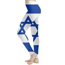 KYKU Brand Geometric Leggings Women Blue Elastic Israel Flag Printed pants Gothic Sexy Spandex Sport Womens Pants