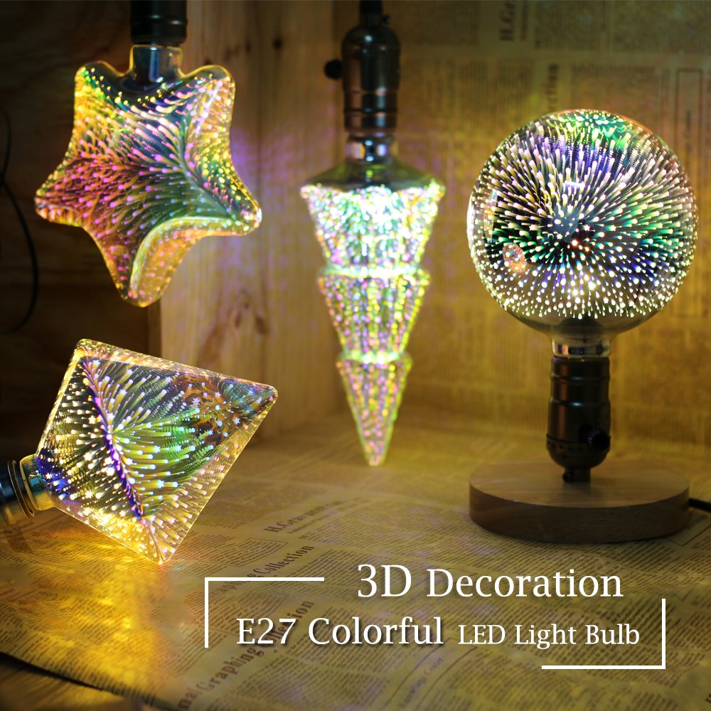 light bulb 3D LED Bulb Light 220V E27 A60 ST64 G80 G95 G125 Holiday Lights Novelty Christmas Lamp Lamparas Decoration Bulb led 3d fireworks led bulb light 220v e27 a60 st64 g80 g95 g125 novelty decoration lamp christmas lighting