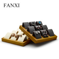 FANXI Solid wood Beige&Dark Gray 9 Seats Earrings Display Stand with Microfiber for Jewelry Expositor Ear stud Display Holder