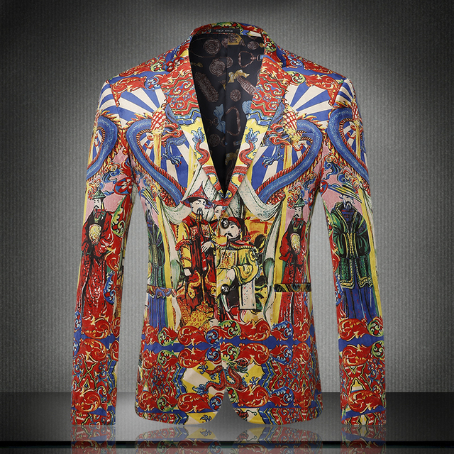 New arrival europe and america style fashion chinese palace print velvet blazer men veste homme men's clothing sze m-3xl /XF40-1