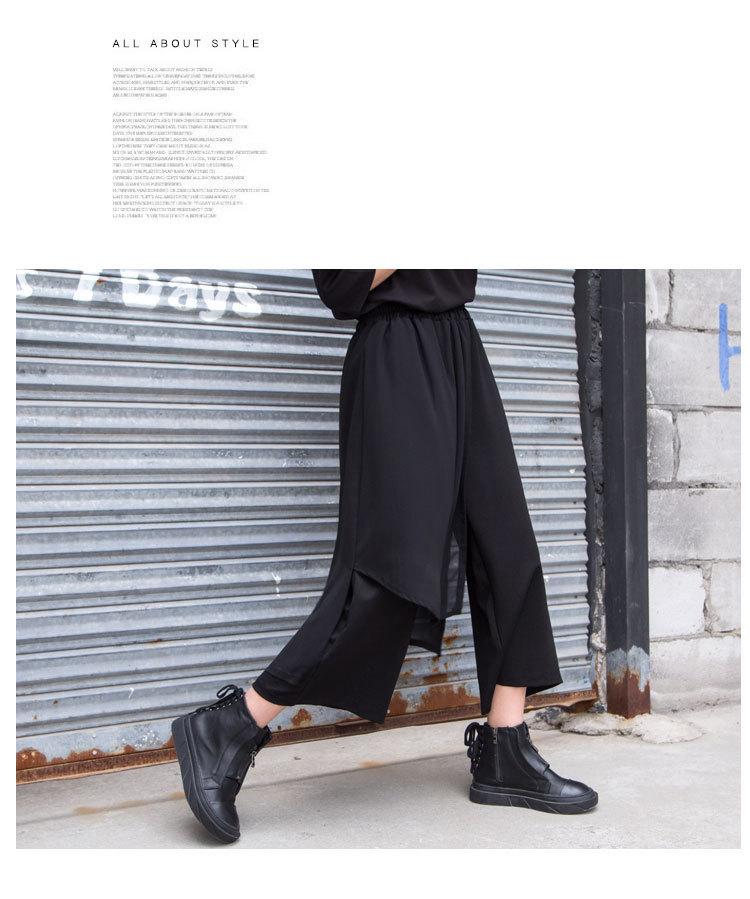 春の新スプリットスカート非対称パンツ女性カジュアルシフォンパッチワークアンクル丈パンツ Y Demo 今週の割引 9
