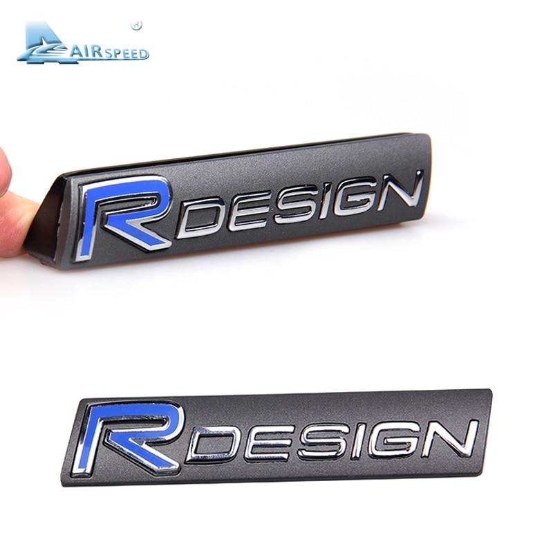 Airspeed RDESIGN 3D Metal Sticker Car Front Grille Emblem Tail Sticker Fender Emblem Car Styling for Volvo XC60 S60 S80 V60 V40 chrome camaro shield for 2016 2017 camaro front fender emblem badge sticker