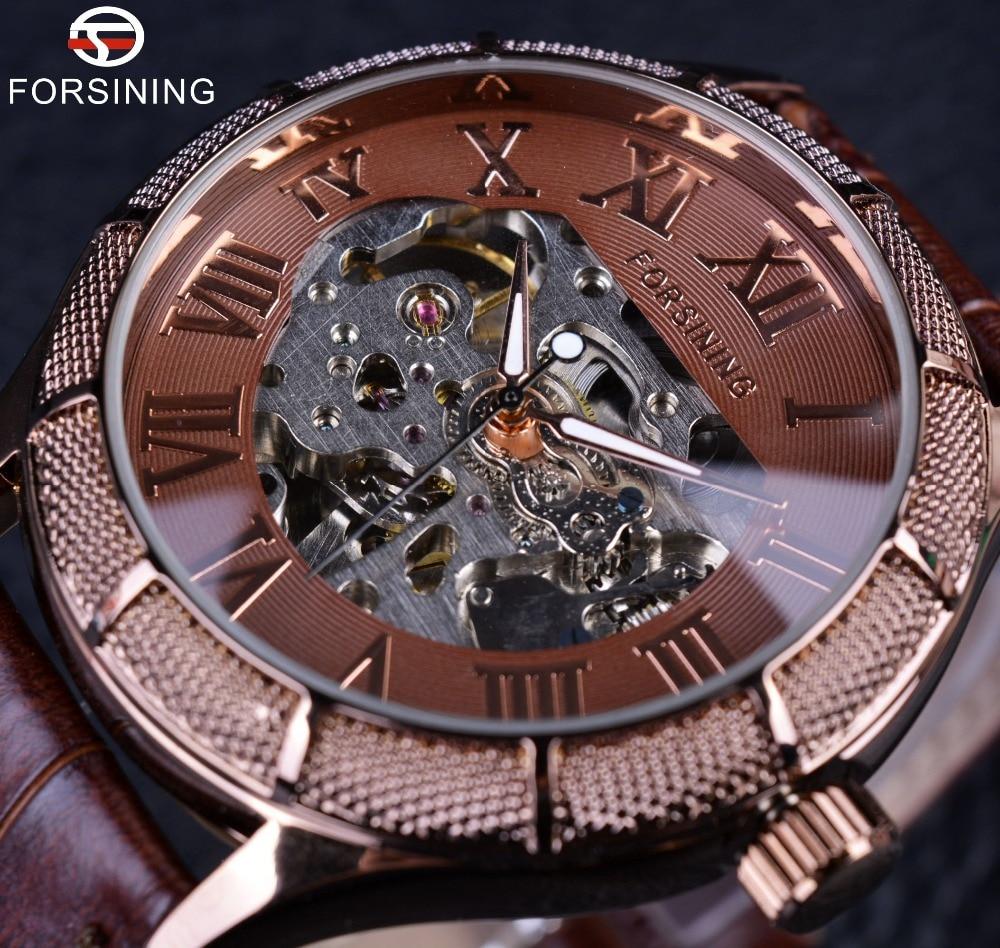 Forsining Skeleton Steampunk Wristwatch Brown Genuine Leather Strap Men Mechanical Self Wind Watch Top Brand Luxury Automatic