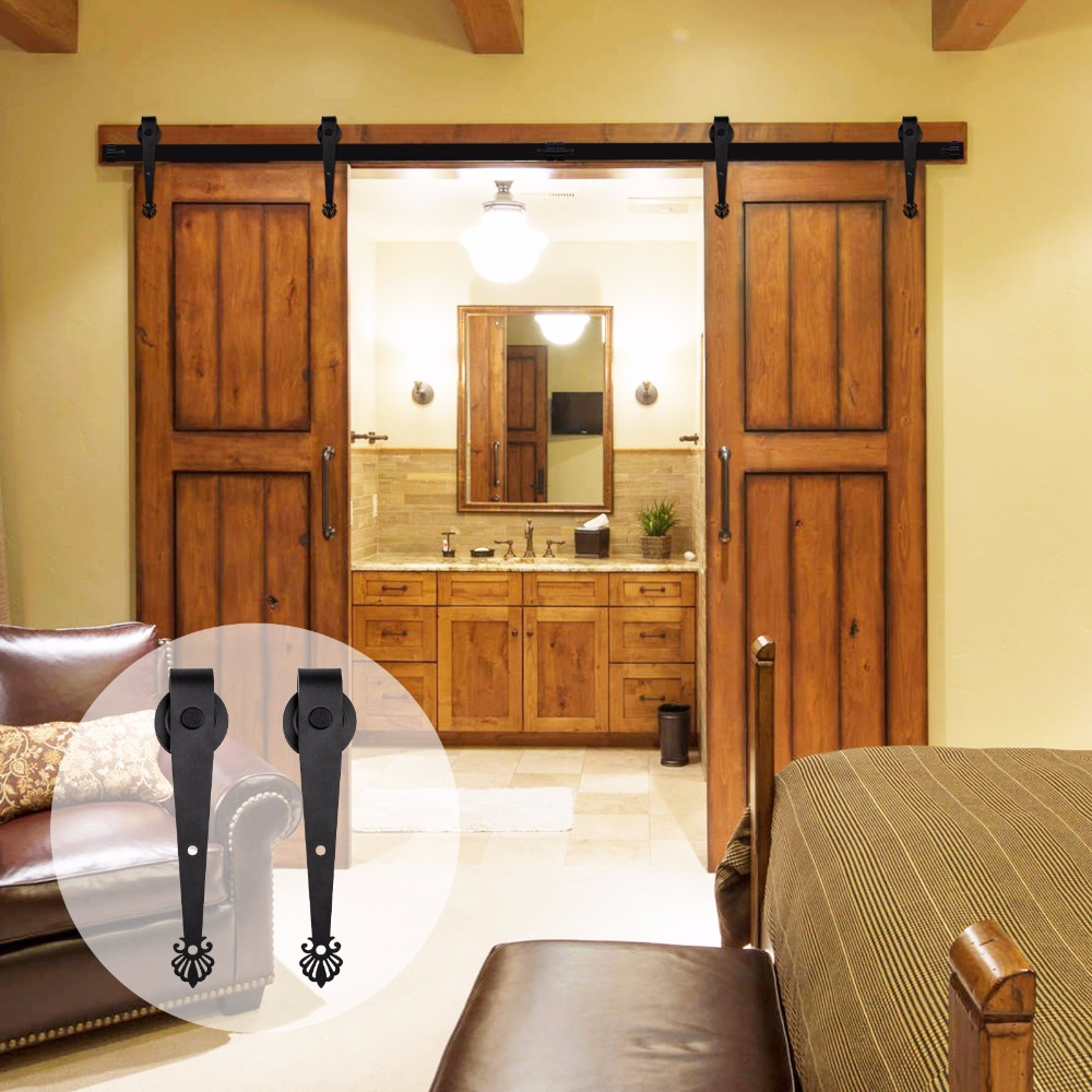 LWZH 16FT/18FT/20FT Country Style Sliding Barn Door Hardware Kit Black Crown Shaped Rail Track Rollers For Sliding Double Door