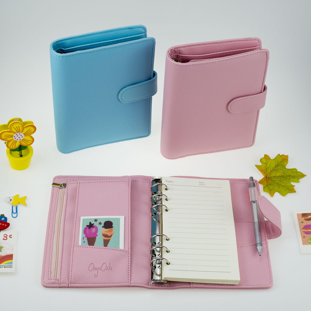 A6 Spiral Notebook Cover Wallet Multi Purpose Insert Paper Kawaii Blue Pink Colored For Student School & Office Supplies