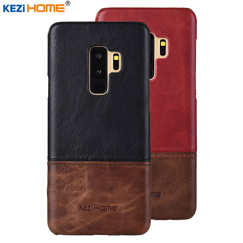 Case for Samsung Galaxy S9 Plus KEZiHOME Luxury Hit Color Genuine Leather Hard Back Cover For Samsung S9 Plus 6.2 Phone cases