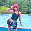 Maki Nishikino Cosplay Love Live Lovelive Swimsuit Awakening Idolized Summer Swimming Uwowo Costume Dark Blue Dots Swimwear