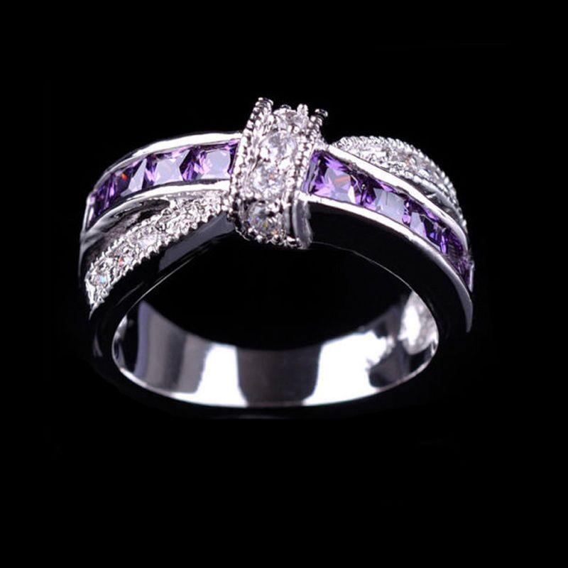 Fashion Cross Finger Ring Zircon Rhinestone Princess Rings Wedding Engagement Jewelry Gifts For Women CX17
