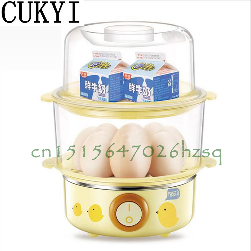 CUKYI 220V 360W Household Double layer electric Egg Cooker Boiler for up to 16 eggs High borosilicate glass automatic power off