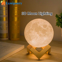 LumiParty Creative 3D Print Moon Lamp With Touch Sensing Switch 3D Lunar Lamp Color Changeable Night