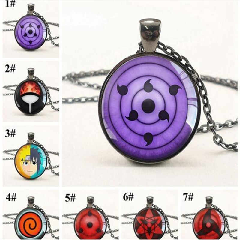 New Naruto Sharingan Eye Necklace Vintage Naruto Jewelry Chain Glass Pendants Necklaces Anime Pendant A911