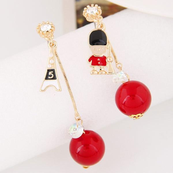 Корейской Моды Металл Личность Белый Красный Черный Бисер Кристалл Асимметричные Серьги Женский