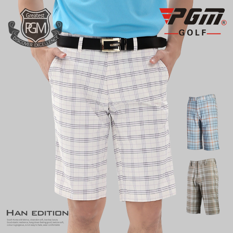 Brand Quality Men's Shorts Plaid Polyester elastic Summer Thin Golf Shorts Male Breathable Comfortable Outdoor Breeches XXS~XXL