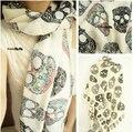 Бесплатная доставка продажа Za новое Trf элегантный мужской акриловые старинные многоцветный черепа печать длинный мыс шалей шарфа