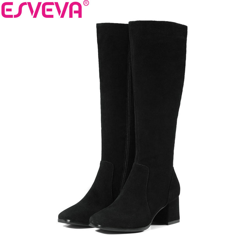 ESVEVA 2018 Women Boots Square Toe Cow Suede Comfortable Lining Knee-high Boots Square High Heels Warm Fur Boots Size 34-39 esveva 2018 women boots zippers black short plush pu lining pointed toe square high heels ankle boots ladies shoes size 34 39