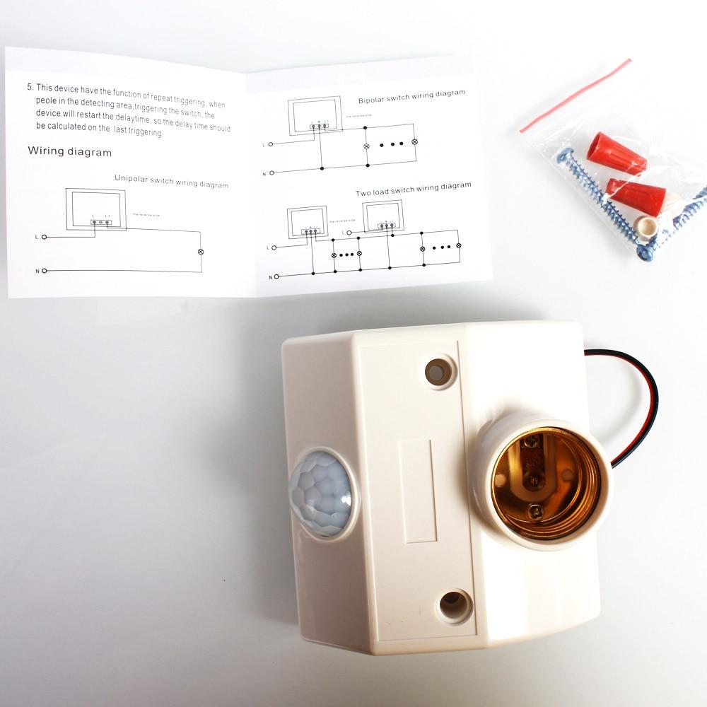 Lightinbox Wall Lamp 80w E27 Holder Socket Led Bulb Light Base Wiring Diagram Two Lights Automatic Body Infrared Ir Sensor Pir Motion Detector In Strips From