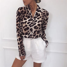 U-SWEAR Chiffon Blouse Long Sleeve Sexy Leopard Print Blouse Turn Down Collar Lady Office Shirt Tunic Casual Loose Tops(China)