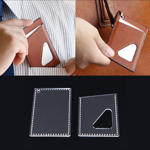 2 Pieces Leather Craft Card Holder Card Protector Pattern Transparent Acrylic Template Stencils