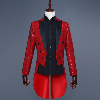 YUSHU Sequin Slim Fit Stylish Tailcoat Stage Singer Prom Dresses Costume high quality Wedding Groom Suit Jacket