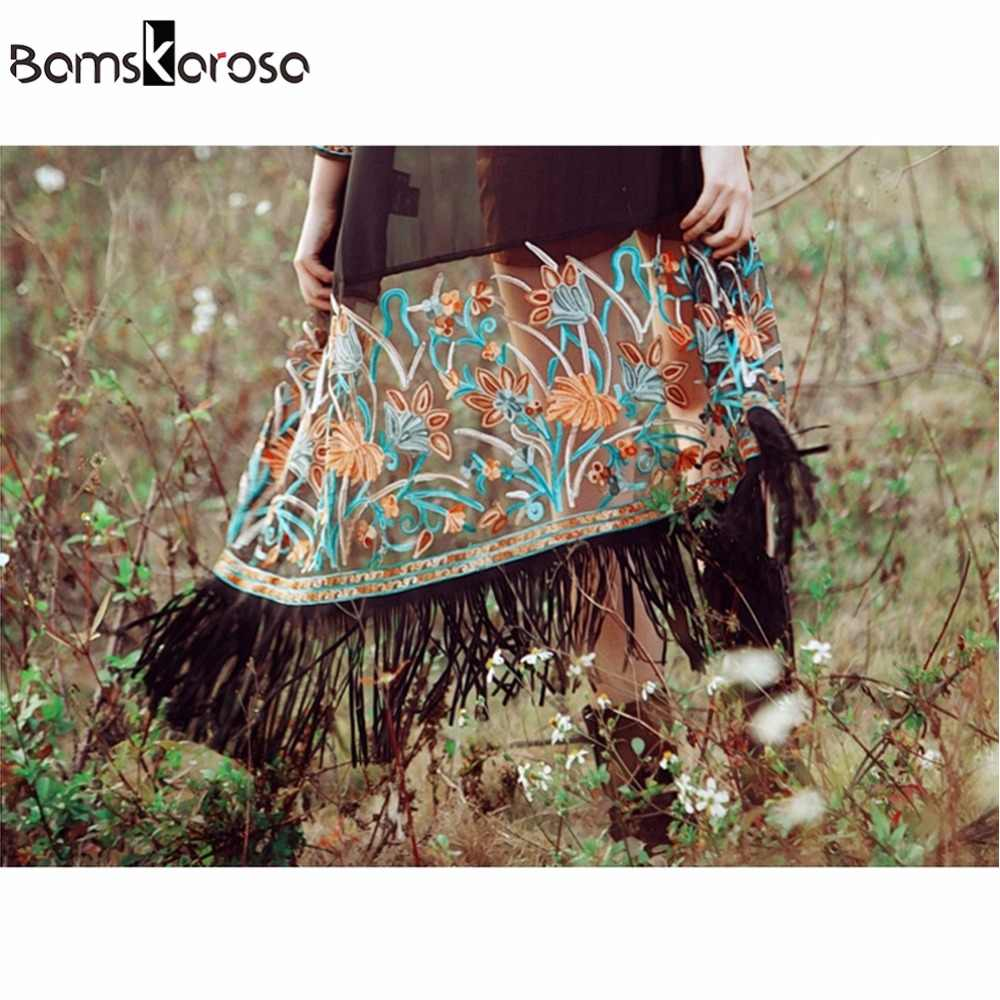 Bamskarosa ボヘミアンスタイル 2019 夏着物カーディガンカジュアルファッション自由奔放に生きるヒッピー刺繍タッセルレディースシャツ女性トップス