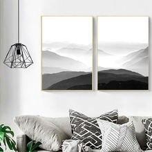 Минималистичная Картина на холсте desert landscap горы черные