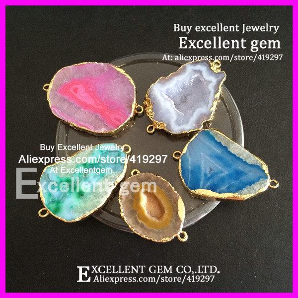 5pcs Jewelry Natural Freedom Druzy Gem Stone beads, Gold Edged Agate Slice Druzy