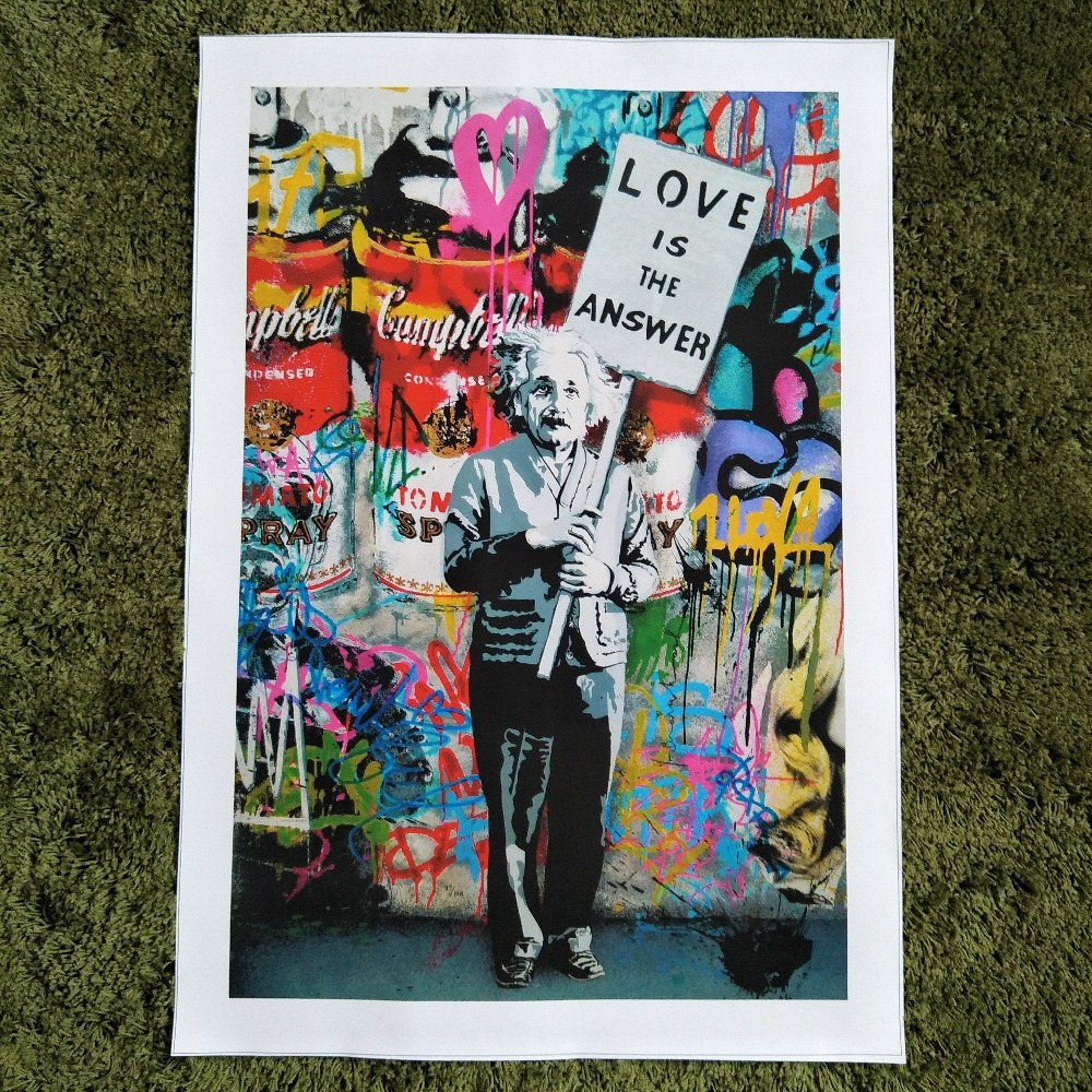 Xdr094 graffiti art canvas painting einstein art prints street urben painting art in painting calligraphy from home garden on aliexpress com alibaba