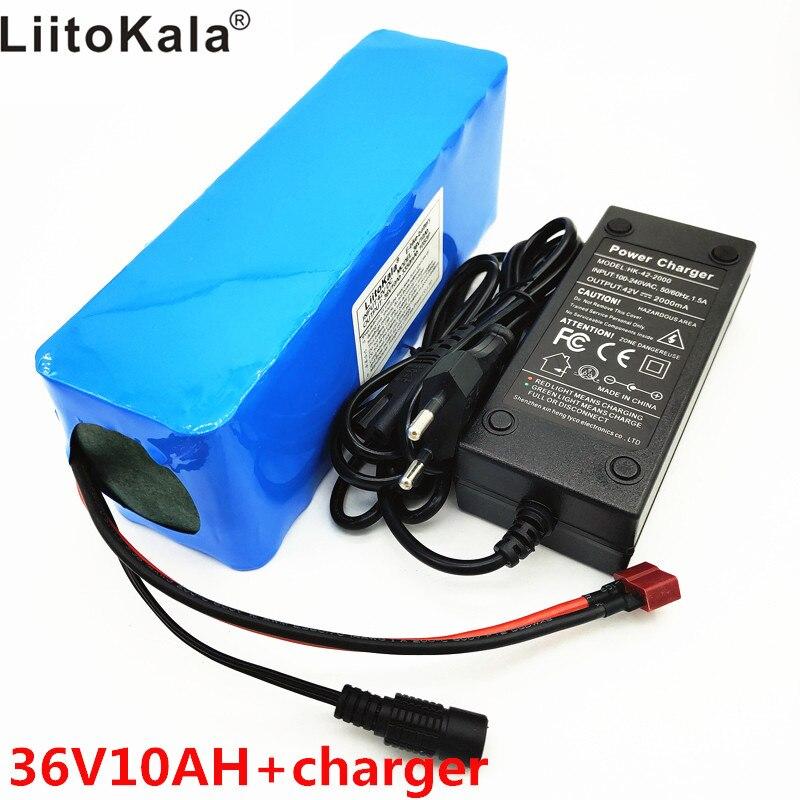 LiitoKala 36 v 10Ah 10S3P 18650 batterie Rechargeable, moto modifiée, chargeur de batterie de véhicule électrique li-lon + 36 V 2A char