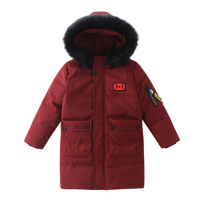 New long warm winter jacket for kids winter coat hooded duck down parkas boys outerwear clothes male coats fur collar jackets defender bilberry black 63245