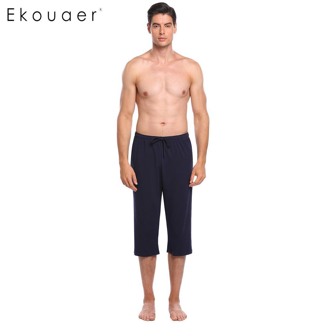 Ekouaer Elastic Casual Sleepwear Pant Comfortable Solid Pocket Lounge Men Drawstring Waistband Half Length Pants Nightwear
