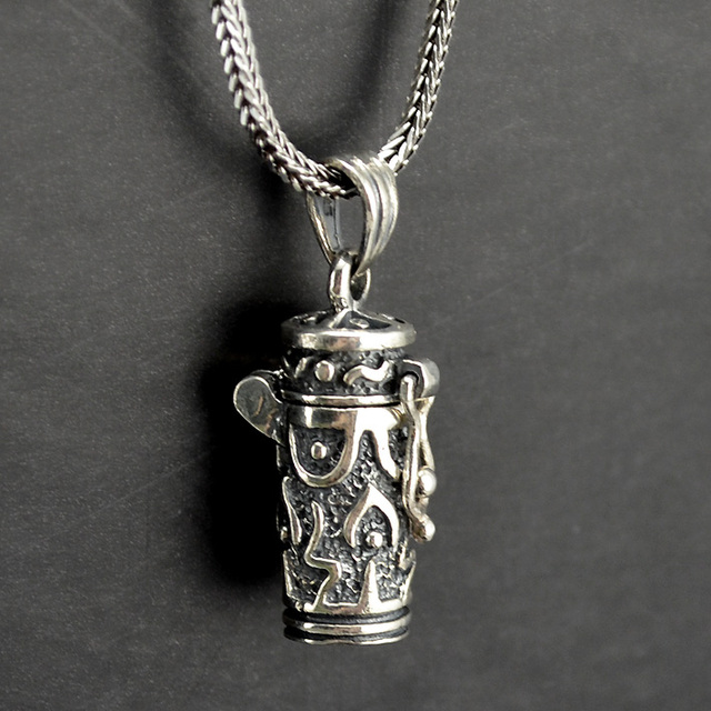 Vintage Thai Silver Container Pendant Pure Necklace Peace Symbol