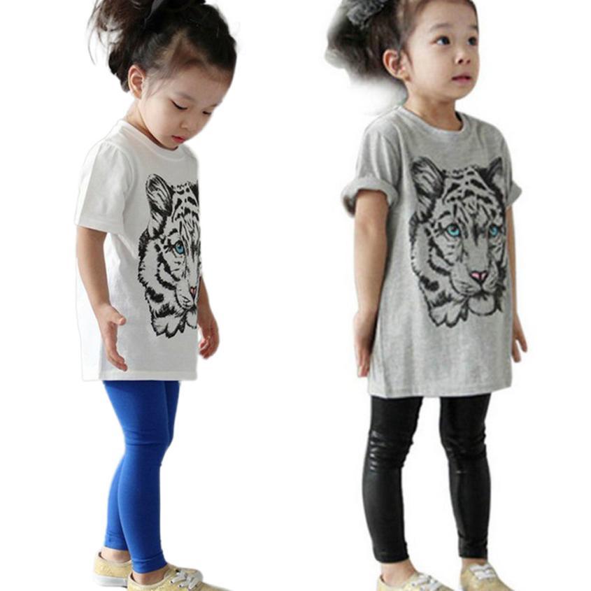 Детской одежды мальчиков девочек лето 2016 тигр глава дизайн с коротким рукавом - детская одежда детский костюм режим enfantine хорошее